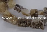 CNG3151 15.5 inche 8*15mm - 11*20mm freeform plated druzy agate beads
