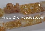 CNG3155 15.5 inche 8*15mm - 11*20mm freeform plated druzy agate beads