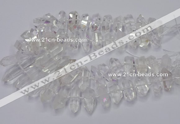 CNG3200 10*25mm - 12*45mm faceted nuggets white crystal beads