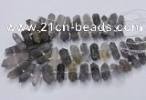 CNG3206 15.5 inches 10*25mm - 12*45mm faceted nuggets cloudy quartz beads