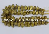 CNG3267 10*15mm - 20*30mm nuggets plated white crystal beads