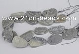 CNG3274 22*30mm - 30*40mm freeform plated druzy agate beads