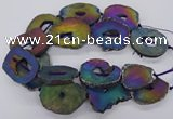 CNG3297 40*45mm - 45*55mm freeform plated druzy agate beads