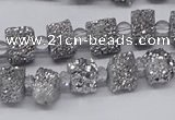 CNG3336 15.5 inches 6*8mm - 10*14mm nuggets plated druzy agate beads