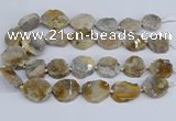 CNG3466 15.5 inches 20*25mm - 30*35mm freeform chrysanthemum agate beads