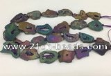 CNG3648 15.5 inches 22*30mm - 30*40mm freeform plated druzy agate beads