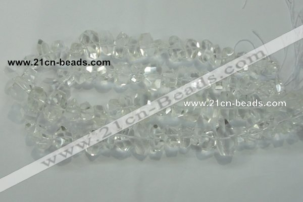 CNG365 15.5 inches 10*20mm faceted nuggets white crystal beads