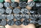 CNG3710 15.5 inches 15*20mm oval rough snowflake obsidian beads