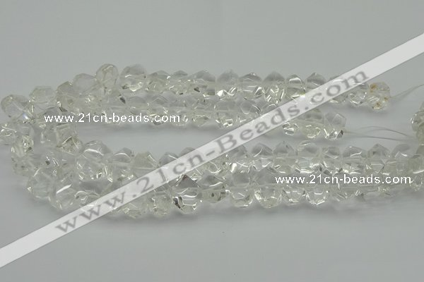 CNG5023 15.5 inches 10*14mm - 13*18mm faceted nuggets white crystal beads