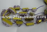 CNG5209 15.5 inches 15*20mm - 12*40mm freeform plated druzy amethyst beads