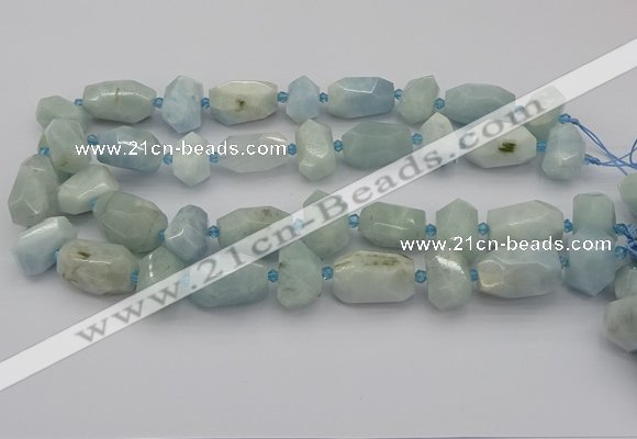 CNG5230 15.5 inches 12*16mm - 15*25mm faceted nuggets aquamarine beads