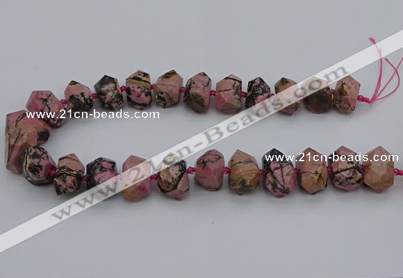 CNG5326 15.5 inches 12*16mm - 15*20mm faceted nuggets rhodonite beads