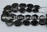 CNG5407 20*30mm - 35*45mm faceted freeform black tourmaline beads