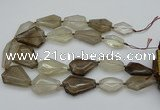 CNG5420 20*30mm - 35*45mm faceted freeform smoky quartz beads
