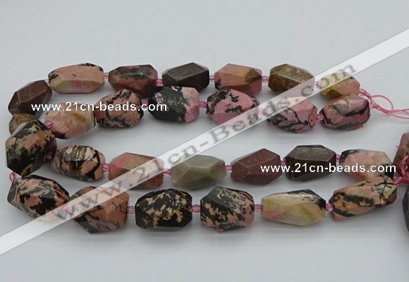 CNG5421 15.5 inches 12*16mm - 15*25mm faceted nuggets rhodonite beads