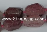 CNG5442 12*16mm - 15*25mm faceted nuggets strawberry quartz beads