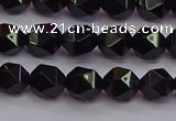 CNG5502 15.5 inches 8mm faceted nuggets black agate beads