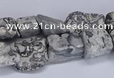 CNG5541 15.5 inches 10*14mm - 12*16mm nuggets grey picture jasper beads