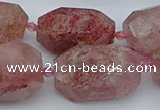 CNG5552 15*20mm - 18*28mm faceted nuggets strawberry quartz beads