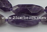 CNG5653 15.5 inches 15*35mm - 18*40mm faceted rice amethyst beads