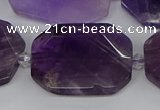 CNG5700 15.5 inches 25*30mm - 28*35mm faceted freeform amethyst beads
