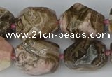 CNG5767 15.5 inches 12*16mm - 15*25mm faceted nuggets rhodochrosite beads