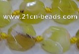 CNG5811 15.5 inches 10*12mm - 10*14mm faceted freeform yellow opal beads