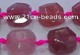 CNG5818 10*12mm - 10*14mm faceted freeform strawberry quartz beads