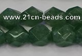 CNG5843 15.5 inches 14*15mm faceted nuggets green strawberry quartz beads