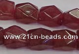 CNG5846 15.5 inches 14*15mm faceted nuggets strawberry quartz beads