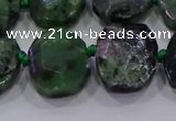 CNG5947 10*14mm - 12*16mm faceted freeform ruby zoisite beads