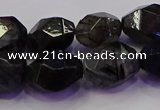CNG5962 10*14mm - 12*16mm faceted nuggets black rutilated quartz beads