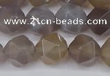 CNG6023 15.5 inches 12mm faceted nuggets grey agate beads