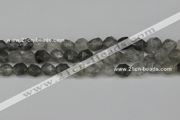 CNG6029 15.5 inches 12mm faceted nuggets cloudy quartz beads