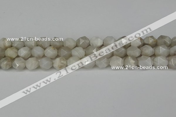 CNG6080 15.5 inches 8mm faceted nuggets grey agate beads