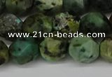 CNG6110 15.5 inches 8mm faceted nuggets African turquoise beads