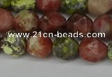 CNG6117 15.5 inches 8mm faceted nuggets red plum blossom jade beads