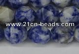 CNG6178 15.5 inches 10mm faceted nuggets blue spot stone beads