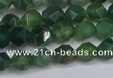 CNG6225 15.5 inches 6mm faceted nuggets moss agate beads
