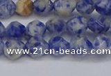 CNG6250 15.5 inches 6mm faceted nuggets blue spot stone beads