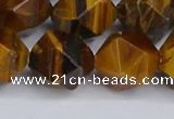 CNG6299 15.5 inches 14mm faceted nuggets yellow tiger eye beads