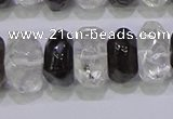 CNG6380 6*14mm - 8*14mm nuggets white crystal & smoky quartz beads