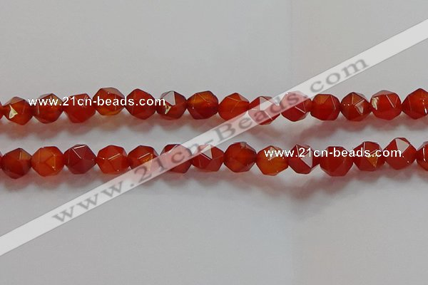 CNG6506 15.5 inches 10mm faceted nuggets red agate beads