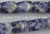 CNG651 15.5 inches 13*18mm faceted nuggets blue spot gemstone beads