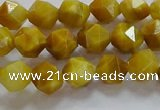 CNG6530 15.5 inches 6mm faceted nuggets golden tiger eye beads