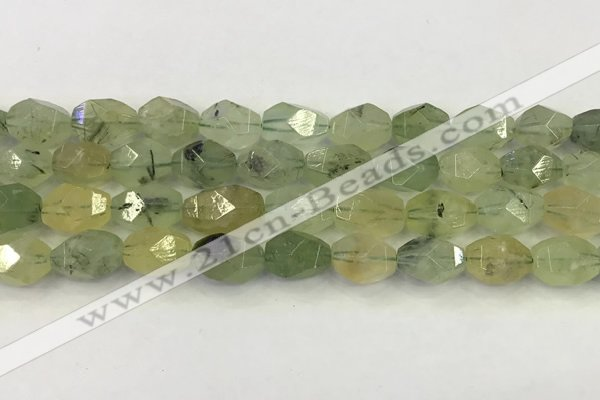 CNG6956 10*14mm - 12*16mm faceted nuggets green rutilated quartz beads