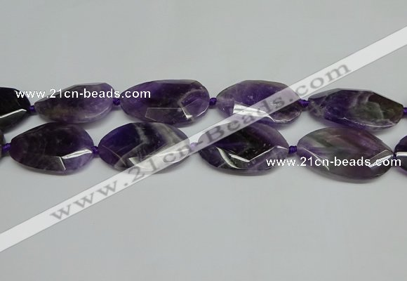 CNG7089 15.5 inches 25*35mm - 35*45mm faceted freeform amethyst beads