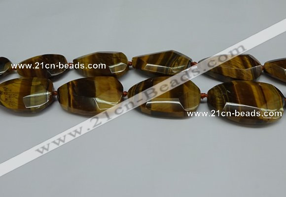 CNG7101 25*35mm - 35*45mm faceted freeform yellow tiger eye beads