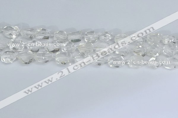 CNG7130 15.5 inches 6*10mm - 10*14mm faceted nuggets white crystal beads