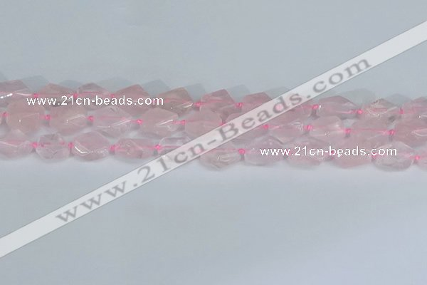 CNG7131 15.5 inches 6*10mm - 10*14mm faceted nuggets rose quartz beads